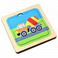 Игра настольная «Машинки-малышки» трехслойный пазл из дерева.