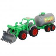 Трактор-погрузчик «Фермер-техник» с цистерной.