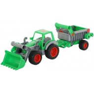 Трактор-погрузчик «Фермер-техник» с полуприцепом.