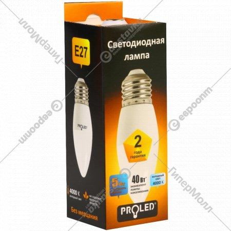 Лампа светодиодная «Proled» PL-C37 5W 4000K E27.