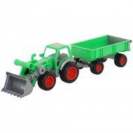 Трактор-погрузчик «Фермер-техник» с прицепом.