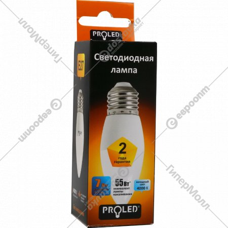 Лампа светодиодная «Proled» С37-7W 4000K E27.