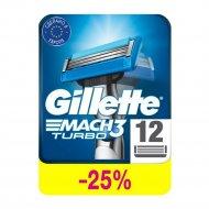 Cменные кассеты для бритья «Gillette» Mach3 Turbo, 12 шт