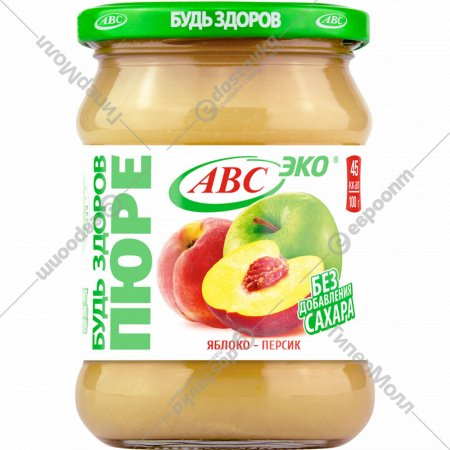 Пюре яблочно-персиковое «Будь здоров» 450 г.