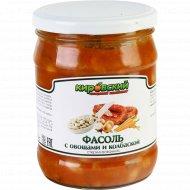 Фасоль с овощами и колбаской, 450 г.