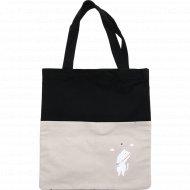Сумка-шоппер «Mon Ami» черно-белая, размер: 33х38 см.