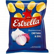 Чипсы рифленые «Estrella» со вкусом сметаны и лука, 125 г.