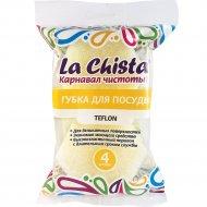 Губки для посуды «La Chista» тефлон, 4 шт.