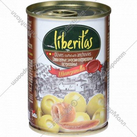 Оливки зеленые «Liberitas» c анчоусами, 280 г.