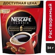 Кофе растворимый «Nescafe classic» с добавлением молотого, 34 г.