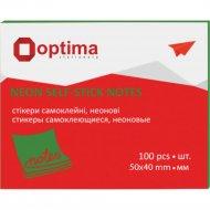 Бумага для заметок «Optima» неон, 40х50мм, 100 листов.