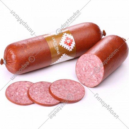 Колбаса мясная «Сервелат ореховый» варено-копченая, салями, 1 кг., фасовка 0.75-0.85 кг
