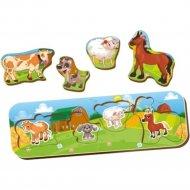 Игрушка-вкладыш «Чей малыш?» корова-собака-овца-лошадь.