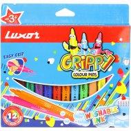 Фломастеры «Luxor» grippy,12 цветов.