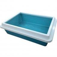 Лоток для кошек «Зооэкспресс» Lux с рамкой, голубой, 40.5x30x12 см