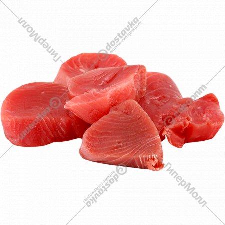 Рыба мороженая «Тунец» филе кусочки 50-100 г, фасованный 500 г.