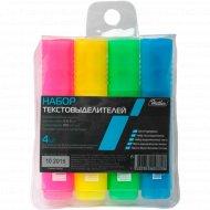 Набор флуоресцентных текстовыделителей «Hatber» 4 цвета.