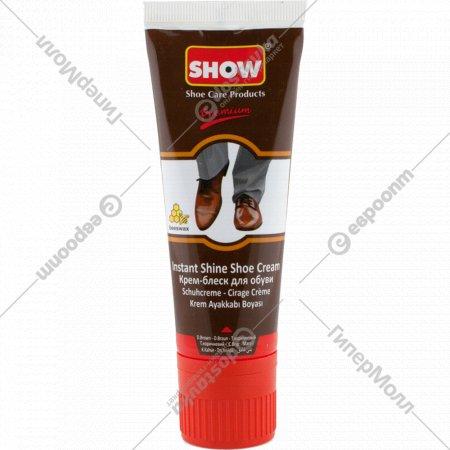 Крем для обуви «Show» коричневый, с губкой, в тубе, 75 мл.