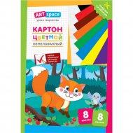 Картон цветной A4 «ArtSpace» лисичка, 8 листов, 8 цветов