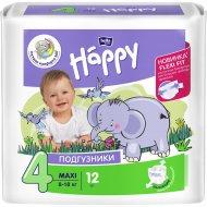 Подгузники для детей «Bella Baby Happy» размер 4 maxi (8-18 кг) 12 шт.