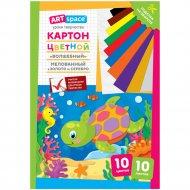 Картон цветной A4 «ArtSpace» черепашка, 10 листов, 10 цветов