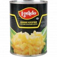Ананасы «Lorado» кусочки в легком сахарном сиропе, 580 мл.