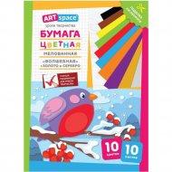 Цветная бумага A4 «ArtSpace» снегирь, 10 листов, 10 цветов