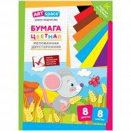 Цветная бумага двусторонняя A4 «ArtSpace» мышка, 8 листов, 8 цветов