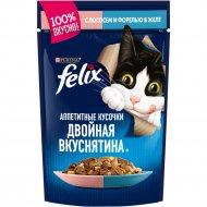 Корм для кошек «Felix» с лососем и форелью в желе, 85 г