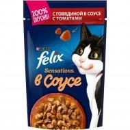 Корм для кошек «Felix Sensations» с говядиной в соусе с томатами, 85 г.