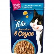 Корм для кошек «Felix Sensations» с треской и томатами, 85 г.