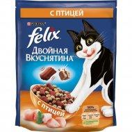 Сухой корм «Felix» двойная вкуснятина для кошек с птицей, 750 г.