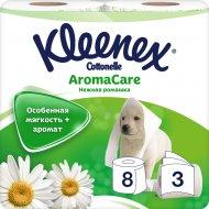 Туалетная бумага «Kleenex» нежная ромашка, трехслойная, 8 рулонов.