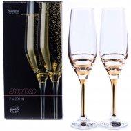Набор бокалов для шампанского «Bohemia Crystal» Amoroso, 2 шт, 200 мл