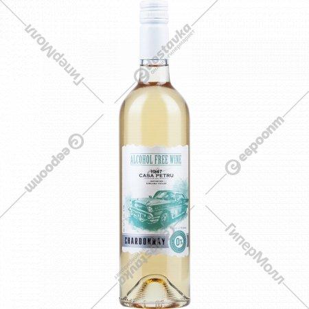 Вино безалкогольное «Casa petru» chardonnay белое, полусладкое, 0.75л.