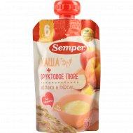 Пюре «Semper» яблочно-персиковое, с кашей, 120 г.