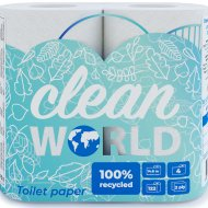 Бумага туал.«CLEAN WORLD» (2сл,1*4)