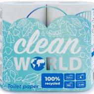 Бумага туал.«CLEAN WORLD» (2сл,1*4)