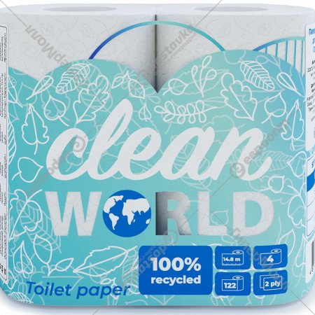 Бумага туалетная «Clean World» 4 рулона, 122 листа.