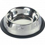 Миска «Trixie» металлическая, для кошек, с рельефным рисунком, 0.2 л, диаметр 11 см.