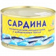 Сардина атлантическая «Наш промысел» с маслом, 240 г.