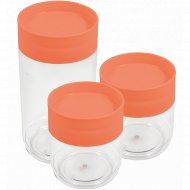 Набор банок для хранения продуктов, коралловый, 2 шт х 0.5 л; 1 шт х 1 л.