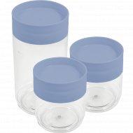Набор банок для хранения продуктов, голубой, 2 шт х 0.5л; 1 шт х 1 л.