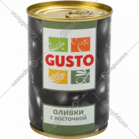 Оливки черные с косточкой «Gusto» 280 г.