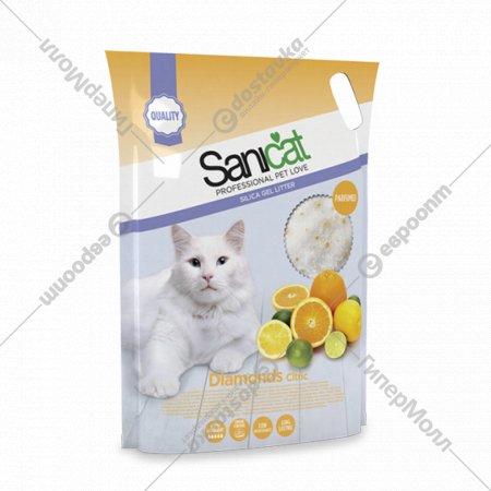 Наполнитель для туалета «Sanicat Diamonds Citric» силикагелевый, 5 л.