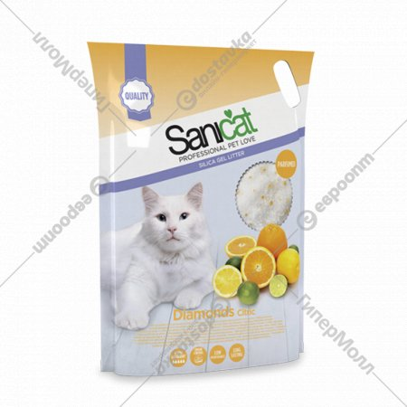 Наполнитель для туалета «Sanicat Diamonds Citric» силикагелевый, 5 л.