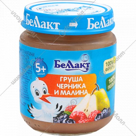 Пюре «Беллакт» груша-черника-малина, 100 г.