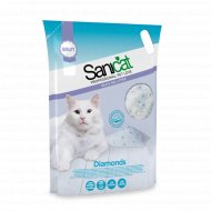 Наполнитель для туалета «Sanicat Diamonds» силикагелевый, 3.8 л.