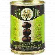 Оливки черные «Agrolive» с косточкой, 280 г.