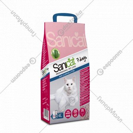 Наполнитель для туалета «Sanicat» 7 DAYS ALOE VERA впитывающий, 4 л.